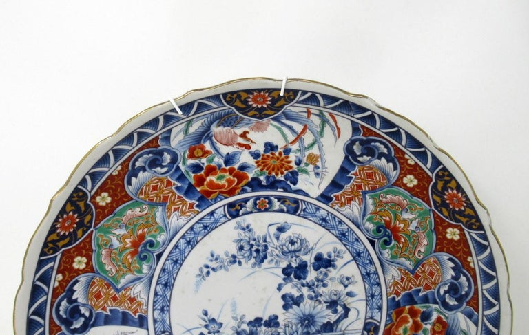 Antique Japanese Meji Hand Painted Imari Dish Centerpiece Wall Plate Cobalt Blue For Sale 1