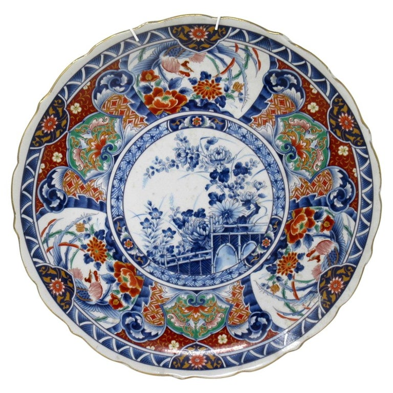 Antique Japanese Meji Hand Painted Imari Dish Centerpiece Wall Plate Cobalt Blue For Sale