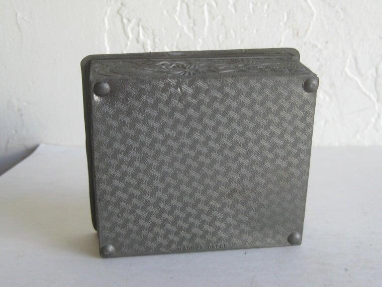 Antique Japanese Metal Relief Dragon Design Lidded Stash Cigarette Tobacco Box For Sale 8