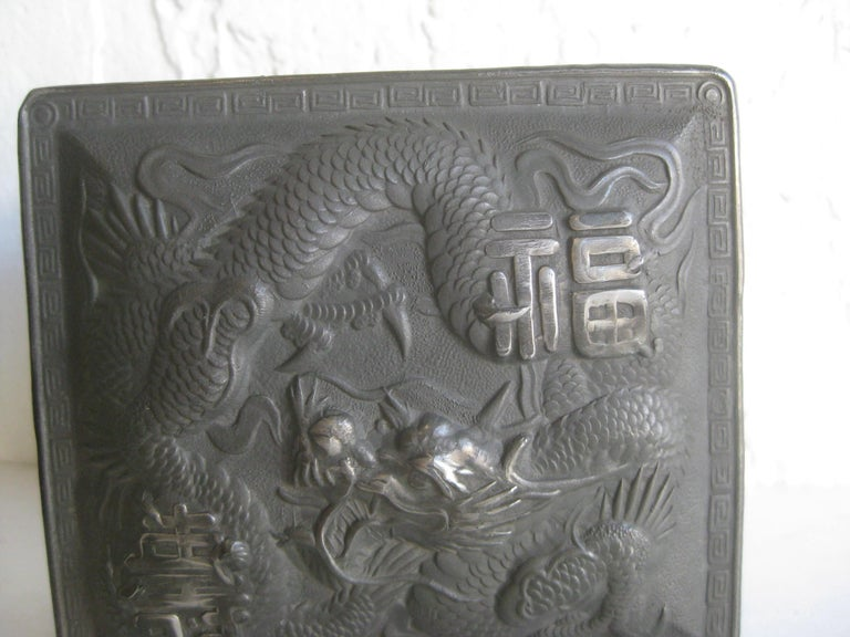 Antique Japanese Metal Relief Dragon Design Lidded Stash Cigarette Tobacco Box In Good Condition For Sale In San Diego, CA