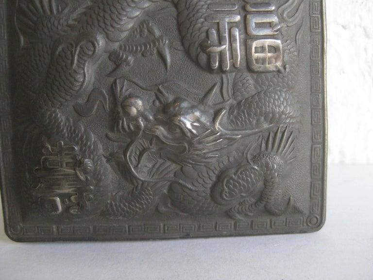 20th Century Antique Japanese Metal Relief Dragon Design Lidded Stash Cigarette Tobacco Box For Sale