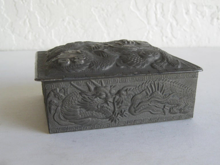 Antique Japanese Metal Relief Dragon Design Lidded Stash Cigarette Tobacco Box For Sale 2