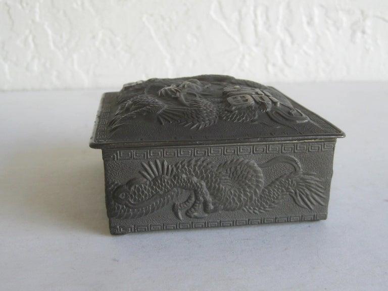 Antique Japanese Metal Relief Dragon Design Lidded Stash Cigarette Tobacco Box For Sale 3