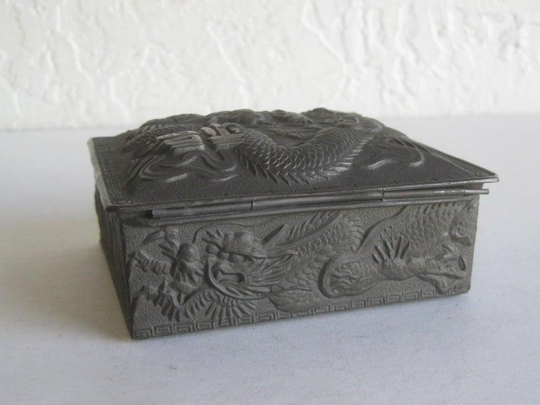 Antique Japanese Metal Relief Dragon Design Lidded Stash Cigarette Tobacco Box For Sale 4