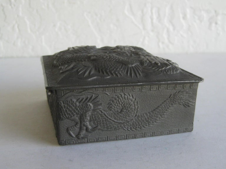 Antique Japanese Metal Relief Dragon Design Lidded Stash Cigarette Tobacco Box For Sale 5
