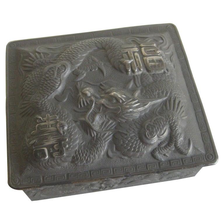 Antique Japanese Metal Relief Dragon Design Lidded Stash Cigarette Tobacco Box For Sale