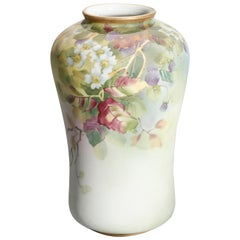 Antique Japanese Nippon Hand Painted Floral and Gilt Porcelain Vase, circa 1920