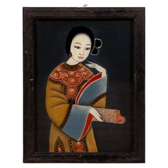 Antique Japanese Painting on Glass Depicting a Woman, Set in a Black Frame