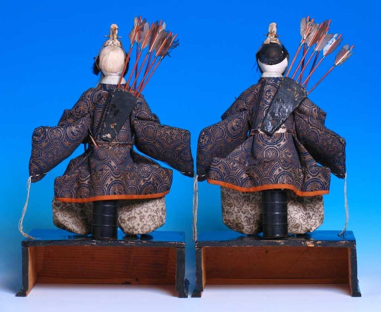 Carved Japanese Pair of Seated Minister Dolls, Hina Ningyo, House of Takeda, Edo For Sale