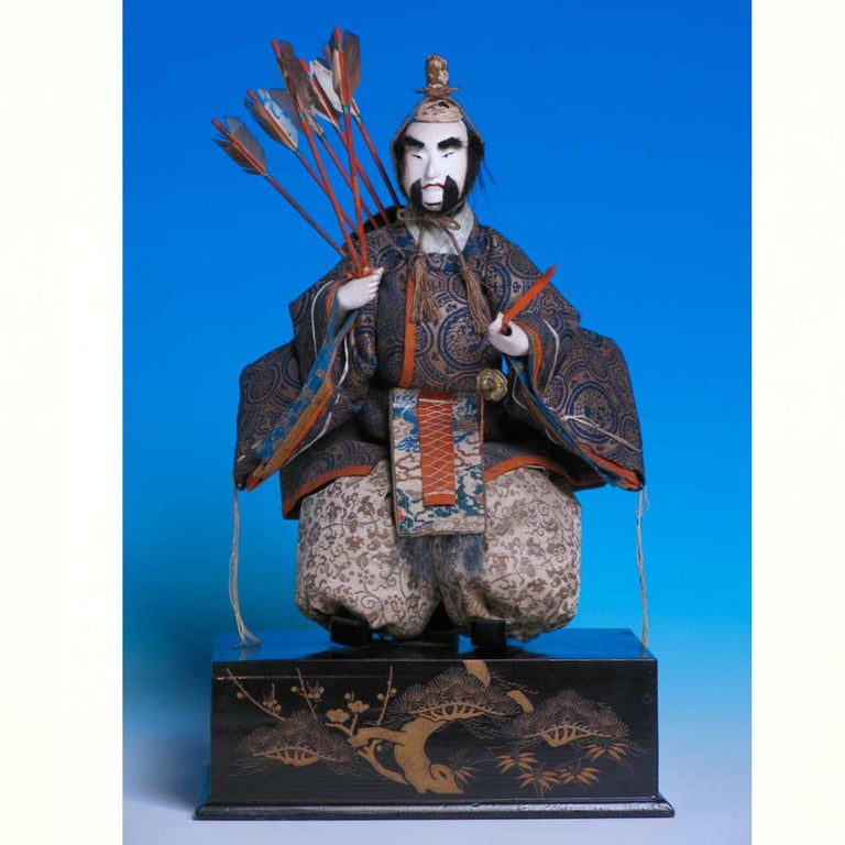 Japanese Pair of Seated Minister Dolls, Hina Ningyo, House of Takeda, Edo In Good Condition For Sale In New York, NY
