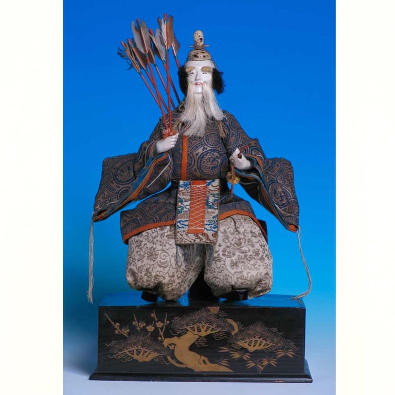 Early 19th Century Japanese Pair of Seated Minister Dolls, Hina Ningyo, House of Takeda, Edo For Sale