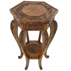 Antique Japanese Plant Stand, Carved Lacquered Lamp Table, Meiji Period, B2179