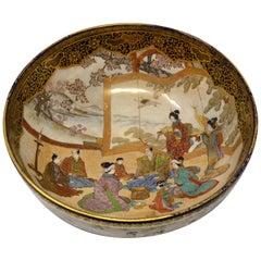 Antique Japanese Porcelain Bowl circa 1890 Kinkazen Blue and Gold