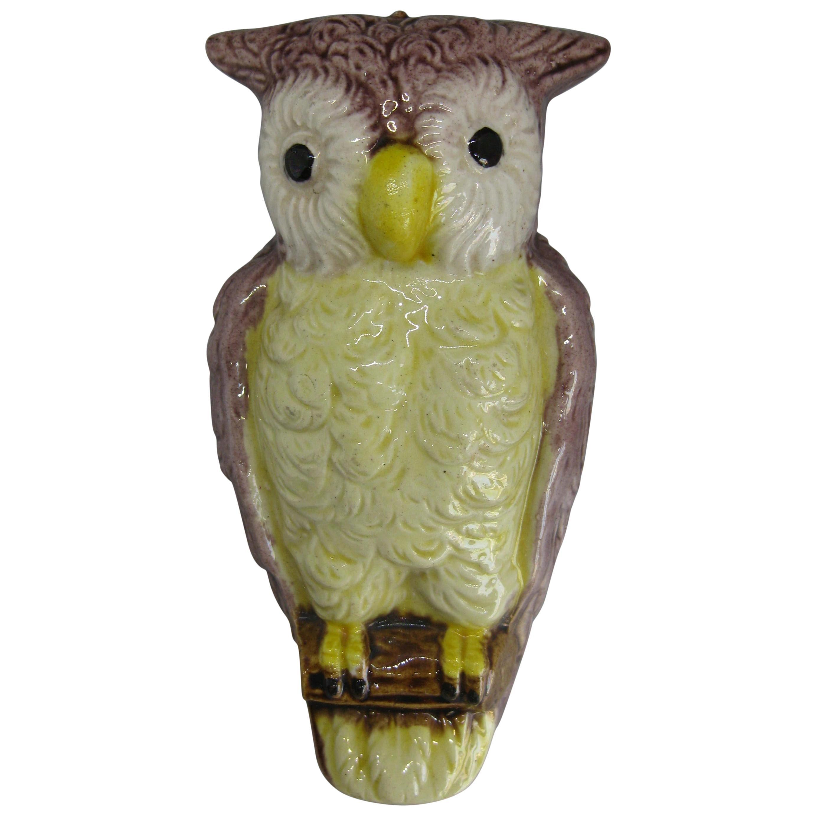 Antique Japanese Porcelain Figural Owl Wall Pocket Vase Meiji Period