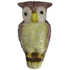Antique Japanese Porcelain Figural Owl Wall Pocket Vase Meiji Period