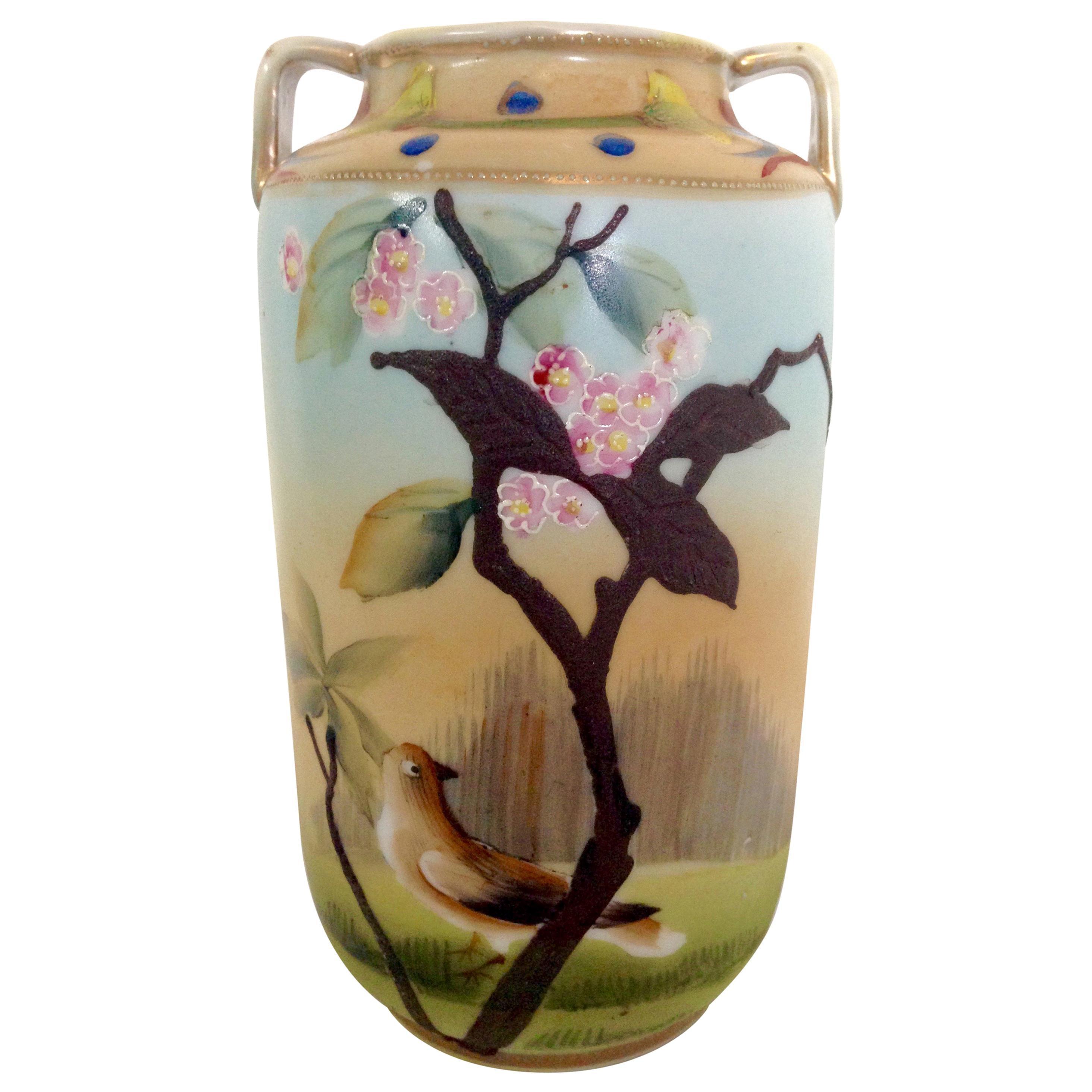 Antique Japanese Porcelain Hand Painted Bird Motif Vase