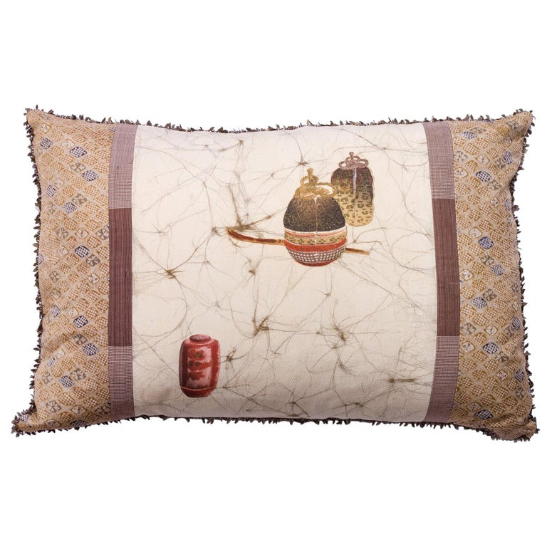 Antique Japanese Printed Silk with Chain Trim Pillow For Sale