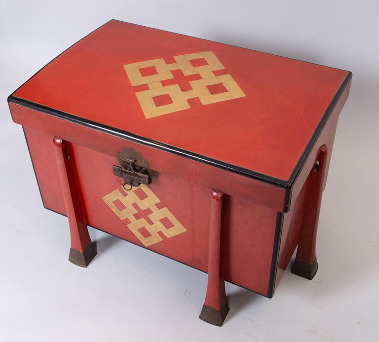 Antique Japanese Red Lacquer Armor Box 2