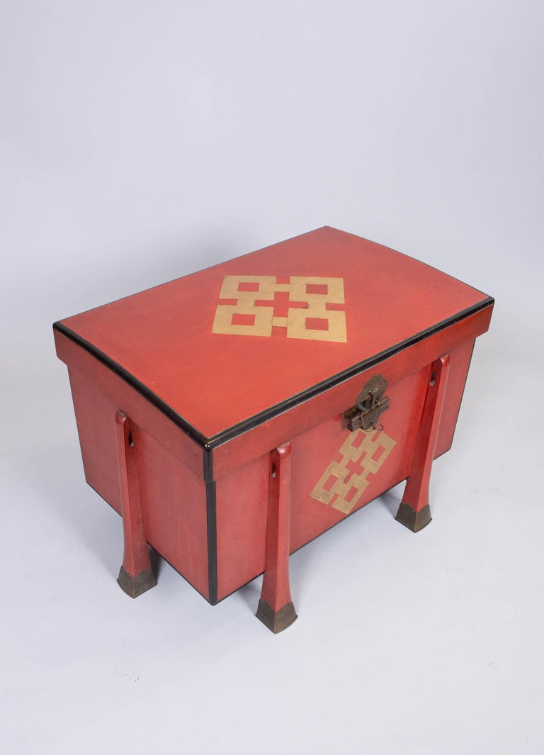 Antique Japanese Red Lacquer Armor Box 3