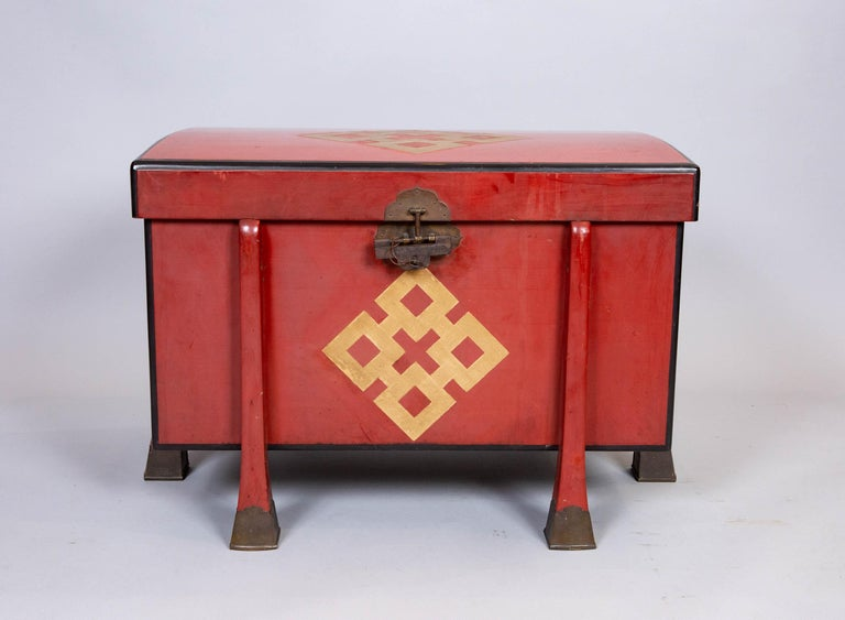 Antique Japanese Red Lacquer Armor Box 5
