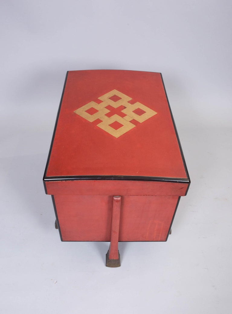 Antique Japanese Red Lacquer Armor Box 6