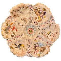 Antique Japanese Satsuma Porcelain Oyster Plate w/ Birds & Sea Life, Circa 1890