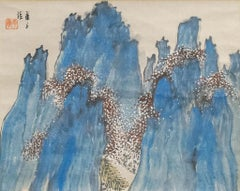 """Antique Japanese Scroll """"Horaisan Holy Mountain"""""""