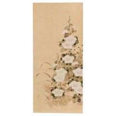 19th Century Japanese Scroll of Hollyhocks