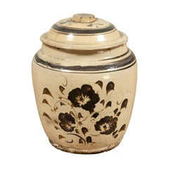 Antique Japanese Seto Ware Covered Pot with Sand-Colored Ground and Floral Decor