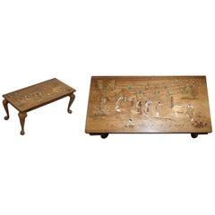 Antique Japanese Shibayama Inlaid Romantic Lovers Hardwood Coffee Table