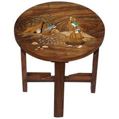 Antique Japanese Shibayama Inlaid Rural Colelcting Water Jug Hardwood Side Table