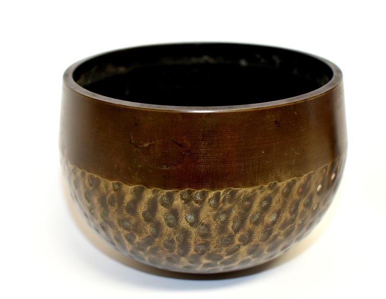 Antique Japanese Singing Bowl Brown Tiger Stripe In Good Condition In Somis, CA