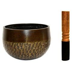 Antique Japanese Singing Bowl Brown Tiger Stripe