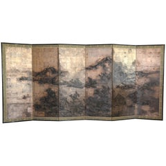 Antique Japanese Six-Panel Screen, 19th Century