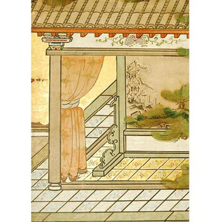 Edo Antique Japanese Six-Panel Screen, Temple Scene For Sale