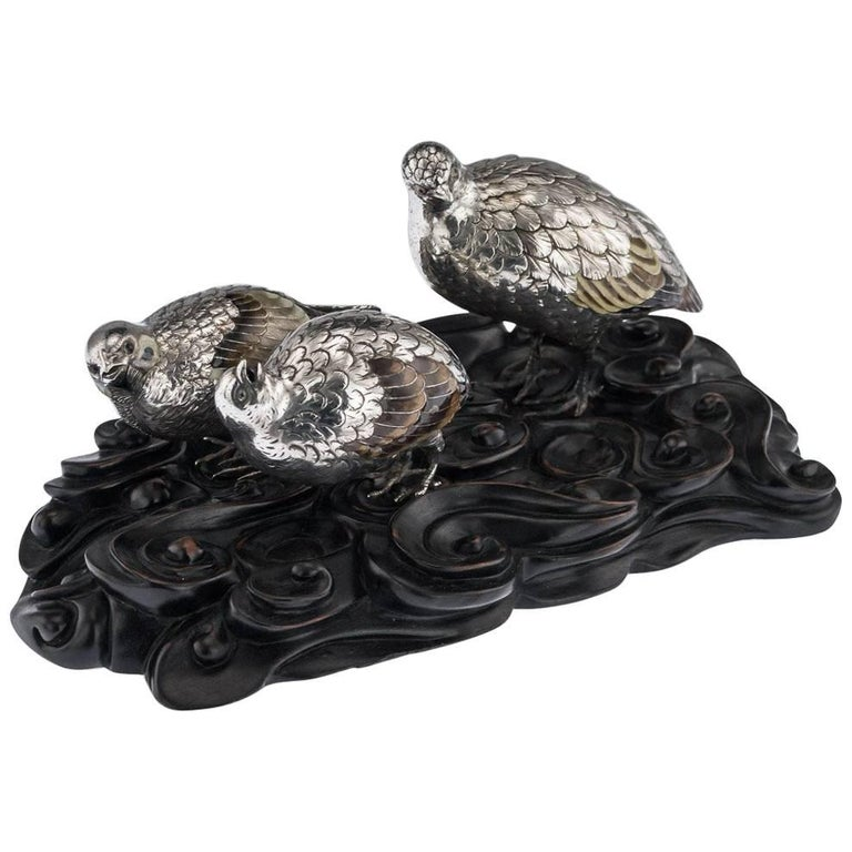 Antique Japanese Solid Silver and Enamel Models of Quails on Stand, circa 1890 For Sale