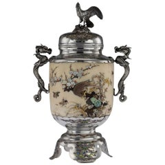 Antique Japanese Solid Silver, Enamel and Shibayama Koro, circa 1890