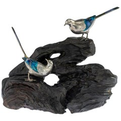 Antique Japanese Solid Silver & Enamel Models Of Wagtails On Stand, circa 1890