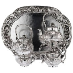 Antique Japanese Solid Silver Tea and Coffee Service on Tray, circa 1900