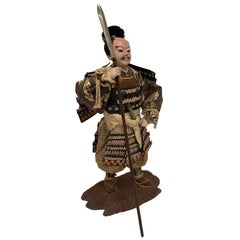 Antique Japanese Standing Samurai Foot Soldier, Circa 1870-1880