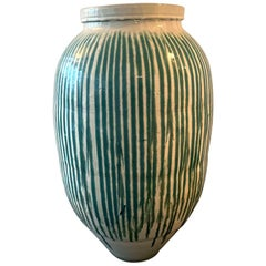 Antique Japanese Storage Jar with Nagashi-Gusuri Glaze
