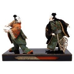 Antique Japanese Takeda Ningyo Doll Set of Two Kabuki Actors on the Stage