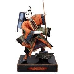 Antique Japanese Takeda Ningyo of a Wandering Samurai, Edo Period