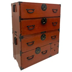 Antique Japanese Tansu Campaign Style Clothing Chest