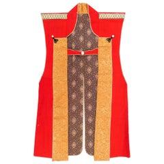 Antique Japanese Textile Art Campaign Jacket Jinbaori with Mon