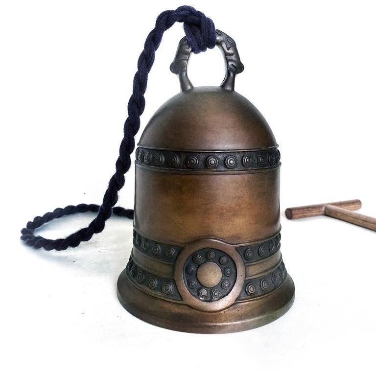 Cast Antique Japanese Tsuri-Kane Buddhist Bronze Bell, Meiji Period For Sale