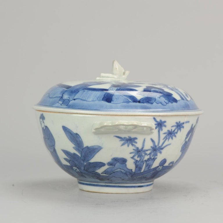 Edo Antique Japanese Tureen circa 1680-1710 Arita Japan Porcelain Tureen For Sale