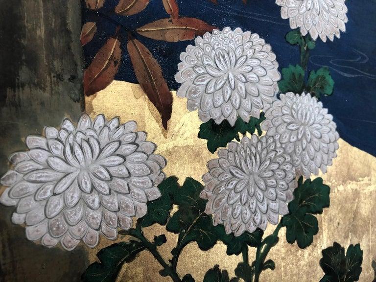 Edo Antique Japanese Two-Panel Screen 'Byobu' For Sale
