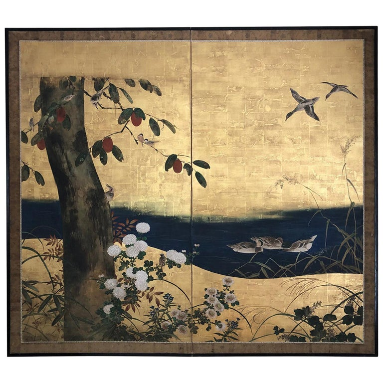Antique Japanese Two-Panel Screen 'Byobu' For Sale