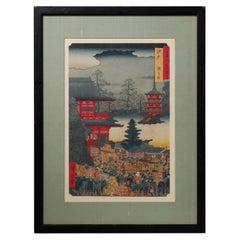 Antique Japanese Woodblock Print of Village Scene after Hiroshige, circa 1850